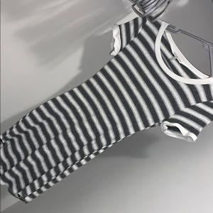 White/Grey Striped T-Shirt Dress